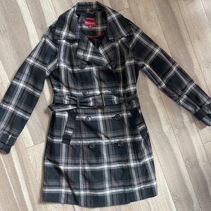 Merona black and white plaid raincoat - size M